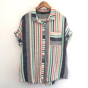 a.n.a Striped Short Sleeve Button Down Sz M
